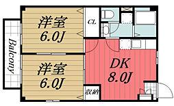 京成本線 京成佐倉駅 徒歩18分の賃貸アパート 2階2DKの間取り