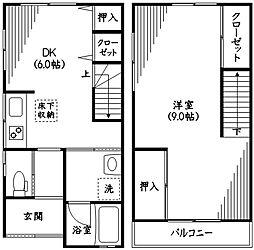月島DEN NAGAYA II 1階1DKの間取り
