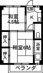 クラウンズマンション天川大島[202号室]の間取り