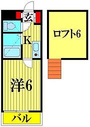 埼玉県越谷市瓦曽根2の賃貸アパートの間取り