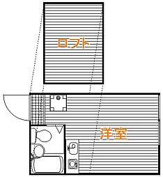 東京都中野区江原町3の賃貸アパートの間取り