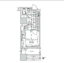 JR山手線 浜松町駅 徒歩11分の賃貸マンション 3階ワンルームの間取り