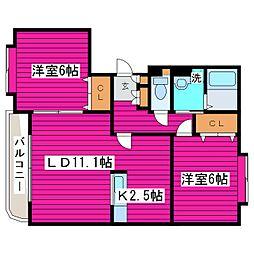 北海道札幌市北区篠路三条2丁目の賃貸マンションの間取り