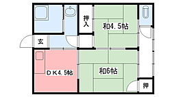 三幸荘[1Fkita号室]の間取り