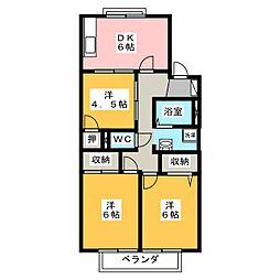 ランディングプレイス A[2階]の間取り