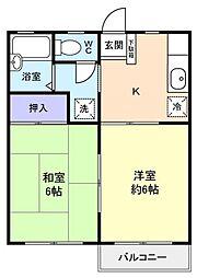 ロワジール勝田台[2階]の間取り