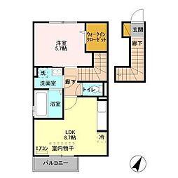 京成本線 京成佐倉駅 徒歩20分の賃貸アパート 2階1LDKの間取り