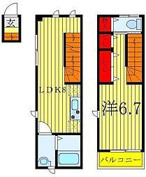 東京メトロ有楽町線 千川駅 徒歩10分の賃貸アパート 2階1LDKの間取り