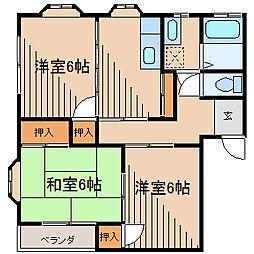 東京都町田市高ヶ坂6丁目の賃貸アパートの間取り