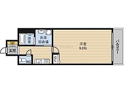 GOパレス桃山台 4階1Kの間取り