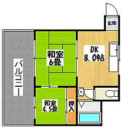 ハイツ徳庵駅前[304号室]の間取り
