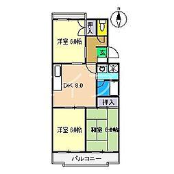 リバーハイツ比島I[2階]の間取り