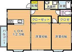 レジデンスカームIII[1階]の間取り