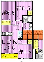サンモール(篠籠田)[2階]の間取り