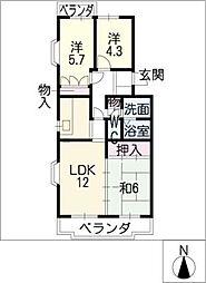 プランドールU[4階]の間取り