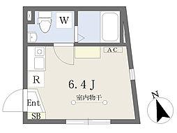 東京メトロ千代田線 北千住駅 徒歩5分の賃貸マンション 2階ワンルームの間取り