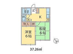 千葉県鎌ケ谷市東中沢の賃貸アパートの間取り