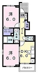 千葉県野田市つつみ野1丁目の賃貸アパートの間取り
