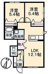 コンソラーレ・ソレイユ[1階]の間取り
