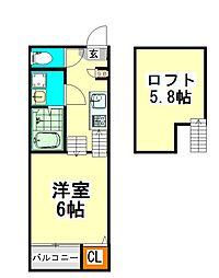 愛知県名古屋市北区清水5丁目の賃貸アパートの間取り