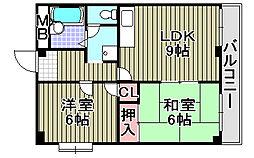 大阪府岸和田市小松里町の賃貸マンションの間取り