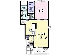 茨城県つくば市大曽根の賃貸アパートの間取り