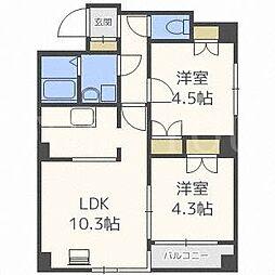 北海道札幌市北区新琴似八条6丁目の賃貸マンションの間取り