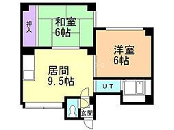 アーバンマンション1 4階2DKの間取り