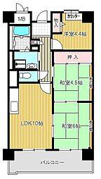 メゾンドーム三軒家[302号室号室]の間取り
