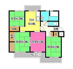 緑ハイツ1号棟[2階]の間取り