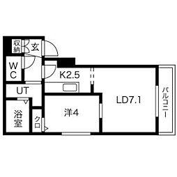 札幌市営東西線 西28丁目駅 徒歩12分の賃貸マンション 4階1LDKの間取り