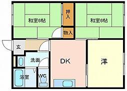 兵庫県高砂市中島3丁目の賃貸アパートの間取り