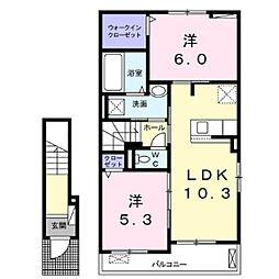 JR小海線 美里駅 徒歩9分の賃貸アパート 2階2LDKの間取り