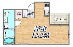 BENISSIMO西宮 4階ワンルームの間取り