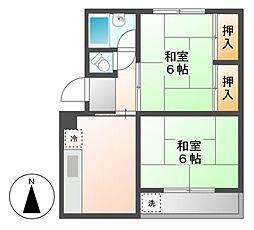 マンションヒロタA[2階]の間取り