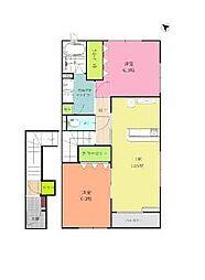 伊予鉄道郡中線 岡田駅 徒歩8分の賃貸アパート 2階2LDKの間取り