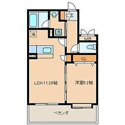 クリムゾン博多II[5階]の間取り