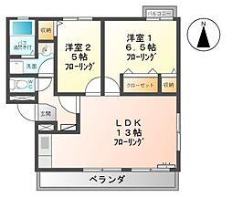 ラ・セゾン青木B棟[2階]の間取り