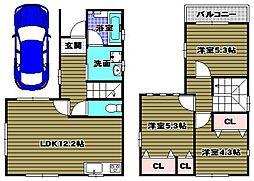 [一戸建] 大阪府大阪狭山市半田6丁目 の賃貸【/】の間取り