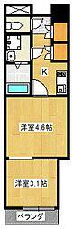 ロンドヴェール伏見桃山[2階]の間取り