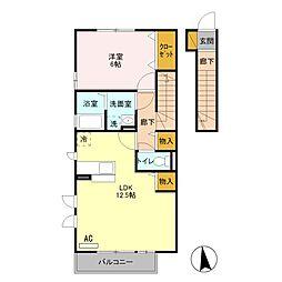 泉区中田東3丁目 メゾンルミエール203号室[2階]の間取り