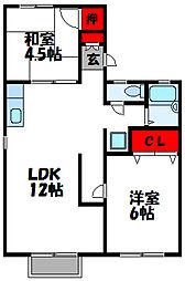 福岡県古賀市新久保1丁目の賃貸アパートの間取り
