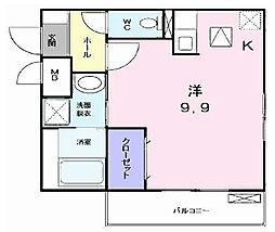 大阪府枚方市上島町の賃貸アパートの間取り