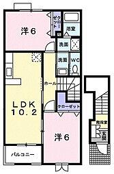 ラ・コリーナB[2階]の間取り