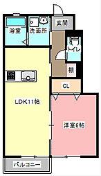 静岡県浜松市浜北区染地台2丁目の賃貸アパートの間取り