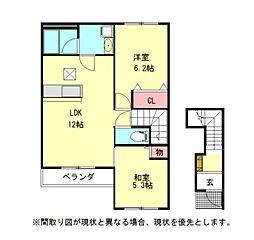 愛知県一宮市浅井町大日比野字東屋敷の賃貸アパートの間取り