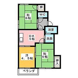 ハイツミネルバA棟[2階]の間取り