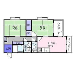 ハイネスアビコ[4階]の間取り
