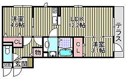 (仮称)D−room岸和田小松[102号室]の間取り