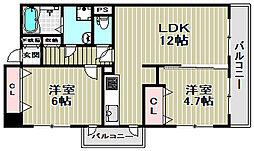 プライムハイツ南花田[4階]の間取り